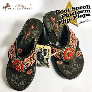 Montana West Boot Scroll Platform Flip-Flo…